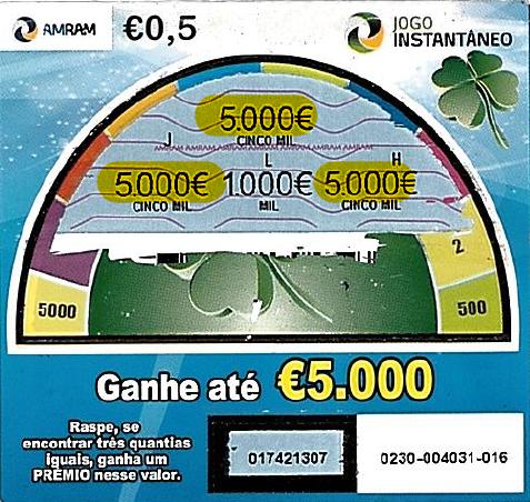 Jogo Instantâneo volta a dar premio de € 5.000,00